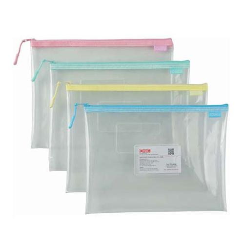 COX 863H B5 環保透明拉鍊袋(附名片袋)(隨機色)