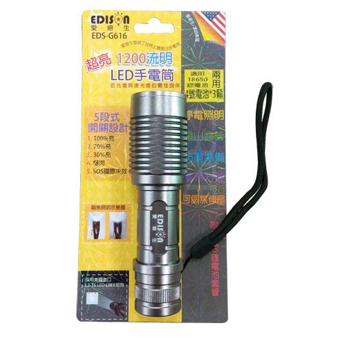 EDS-G616 LED 手電筒(含4號電池X3)