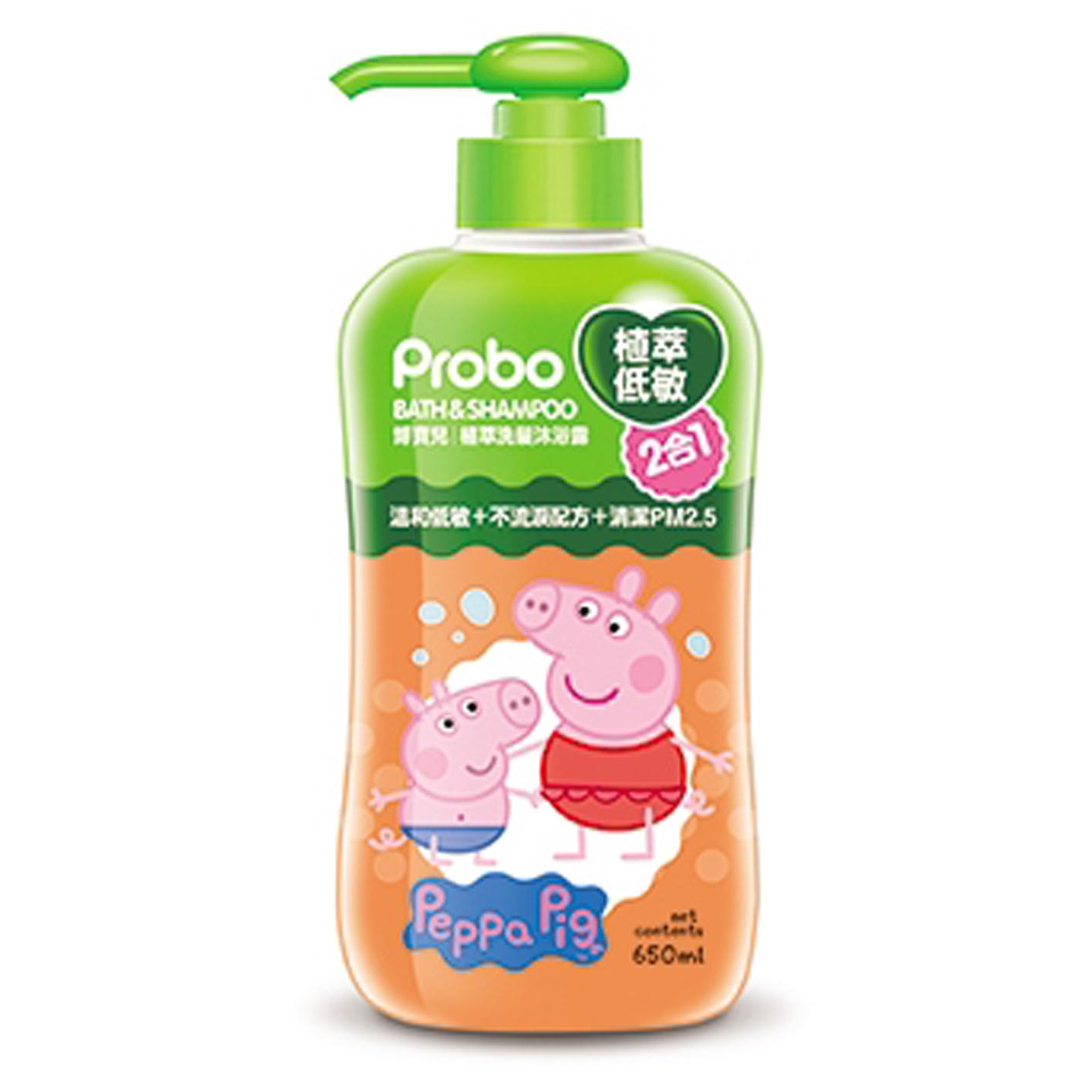 博寶兒植萃洗髮沐浴露650ml-佩佩豬
