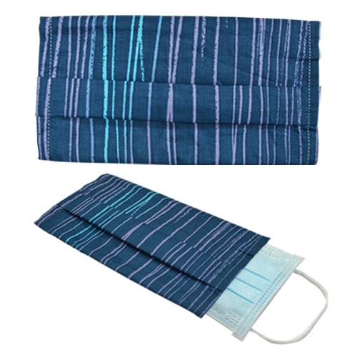 韓風純樸藍碎條純棉布口罩套
